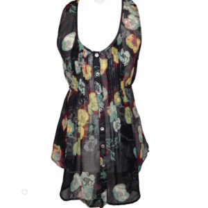 American Rag Cie Pleated Sheer Floral Tunic S